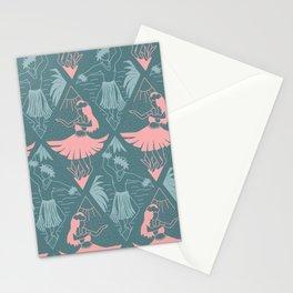 Modern Line Art Hula Dancers Pink Blue Pattern Stationery Cards