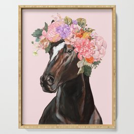 Horse with Flowers Crown in Pink Serving Tray