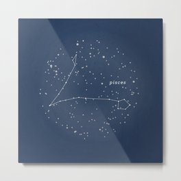 PISCES - Astronomy Astrology Constellation Metal Print