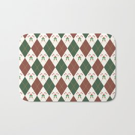 Christmas Sweater Pattern Candy cane Bath Mat