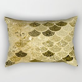 Glitter Gold Mermaid Scales Pattern Rectangular Pillow