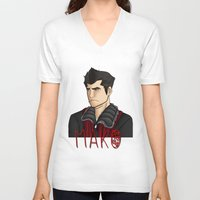 nerd V-neck T-shirts featuring Nerd by BlackPhoenixFeathers