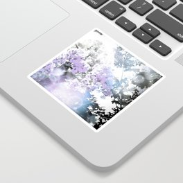 Watercolor Floral Lavender Teal Gray Sticker