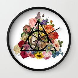 Floral Deathly Hallows Owl and Stag - Black Wall Clock