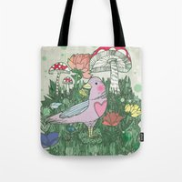 woodland Tote Bags featuring Woodland by Jo Cheung Illustration