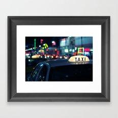 Taxi Night Hollywood Lightstorm Framed Art Print
