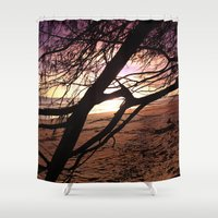 bebop Shower Curtains featuring Early morning beach walks are filled with treasures by Donuts