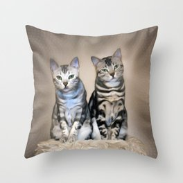 The Glare of the Silver Meowbles  Throw Pillow