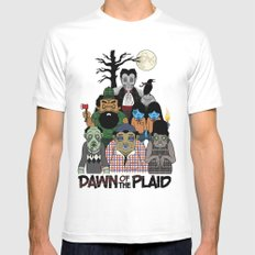 Dawn of the Plaid White MEDIUM Mens Fitted Tee