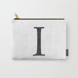 Letter I Initial Monogram Black and White Carry-All Pouch