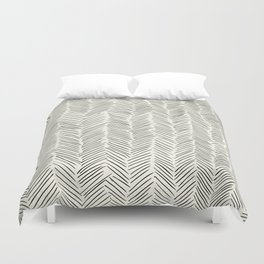 Herringbone Black on Cream Duvet Cover