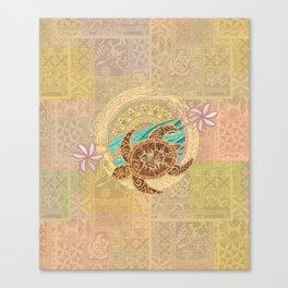 Vintage Samoan Turtle Tapa Print Canvas Print