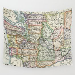 Vintage Map of Washington State (1914) Wall Tapestry