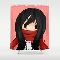 snk Shower Curtains featuring Little Miss Ackerman by Sir-Snellby
