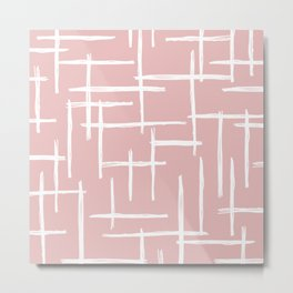 Soft pink abstract strokes grid modern minimal style pattern design Metal Print