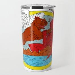 American Bully Dog Fighting Satan Drawing Travel Mug