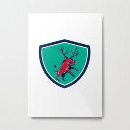 Razorback Antlers Prancing Crest Retro Metal Print