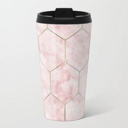 Cloudy pink marble hexagons Travel Mug