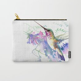 Hummingbird and Soft Purple Flowers Carry-All Pouch