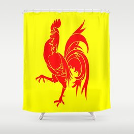 Flag of wallonia - Drapeau wallon,wallonie,Belgique,Belge,Bruxelles,France,Mons,Charleroi,coq,jaune Shower Curtain