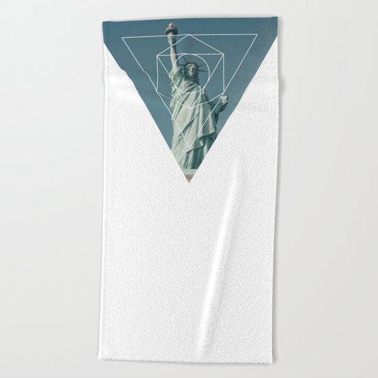 Statue of Liberty - Geometric Photography Beach Towel