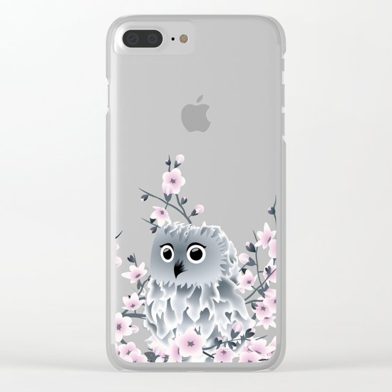 Cute Owl and Cherry Blossoms Pink Gray Clear iPhone Case