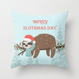 Merry Slothmas! Throw Pillow