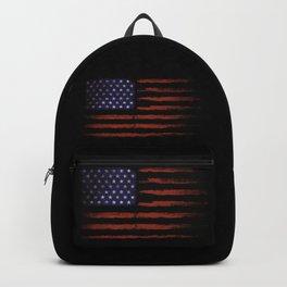 Grunge American flag on black Backpack