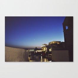 Moonrise over Santorini Canvas Print