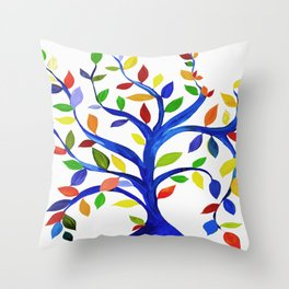 Tree, colorful 1 Throw Pillow