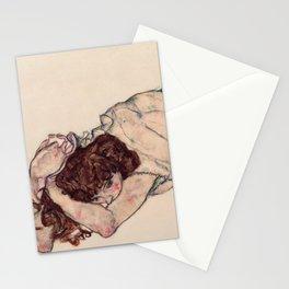 "Egon Schiele ""Kneeling Girl, Resting on Both Elbows"" Stationery Cards"