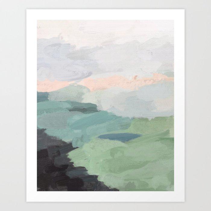 Seafoam Green Mint Black Blush Pink Abstract Nature Land Art Painting Kunstdrucke
