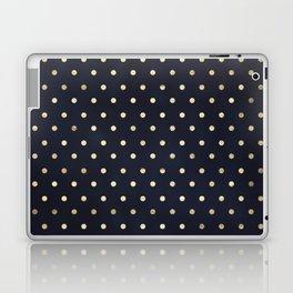 Navy Gold Polka Dots Pattern Laptop & iPad Skin