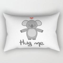 cute hand drawn lettering hug me with cartoon lovely koala bear Rectangular Pillow