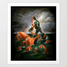 Sea Battle Masterpiece Robot vs Squid  Art Print