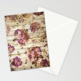 Rustic Vintage Country Floral Wood Romantic Stationery Cards