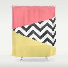 Color Blocked Chevron 2 Shower Curtain