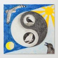 yin yang Canvas Prints featuring  Yin & Yang  by Owl Art Suri