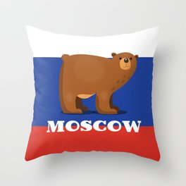 Moscow Bear and flag travel poster. Throw Pillow