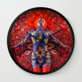V30 Stunning Art Design Manipulation Moroccan Traditional Carpet. Wall Clock