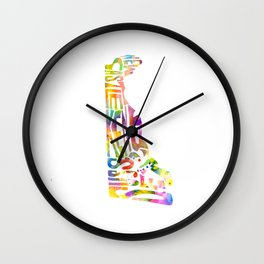 Typographic Delaware - multi watercolor map Wall Clock