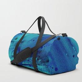 Watercolor Splash Blue Duffle Bag
