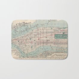 New York City, Manhattan, Vintage Map Bath Mat