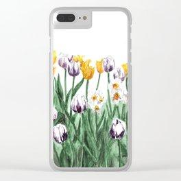 Tulip Watercolor Art, Yellow Flowers Painting, Purple Flowers, Garden Art Clear iPhone Case