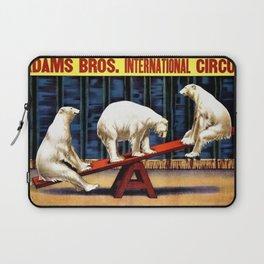 1924 Adams Brothers Circus 'Three Polar Bears' Advertisement Poster Laptop Sleeve