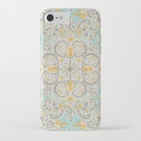 bedding iPhone & iPod Cases featuring Gypsy Floral in Soft Neutrals, Grey & Yellow on Sage by micklyn