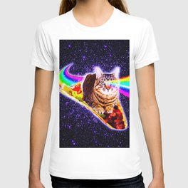 Rainbow Laser Eyes Galaxy Cat Riding Taco T-shirt