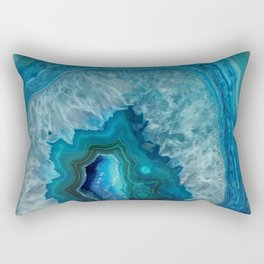 Blue agate marble faux druse crystal quartz gem gemstone geode mineral stone photograph hipster Rectangular Pillow