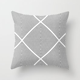 Stitched Diamond Geo Grid in Black and White Throw Pillow