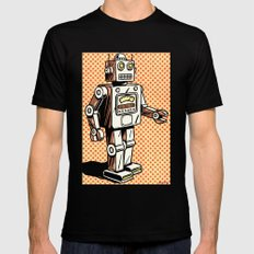 Retro Robot Mens Fitted Tee Black LARGE